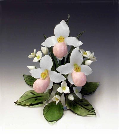 Showy Lady's Slipper Cake Topper